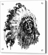 Native American Chief Black And White Acrylic Print