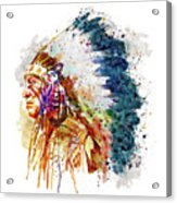 Native American Chief Side Face Acrylic Print