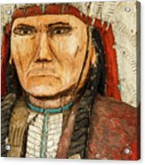 Native American Chief With Pipe Acrylic Print