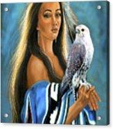 Native American Maiden With Falcon Acrylic Print
