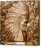 Native American Statue Copper  Acrylic Print