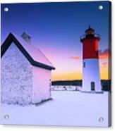 Nauset Lighthouse Sunset,  First Snow Acrylic Print