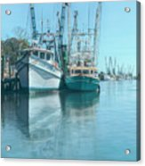 Nautical Aquas At The Harbor Acrylic Print