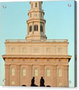 Nauvoo Lds Temple Sunset With Hyrum And Joseph Smith Bronze Statue Acrylic Print