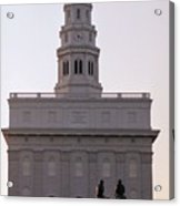 Nauvoo Temple Dawn  With Bronze Sculpture Of Hyrum And Joseph Smith Acrylic Print