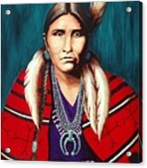 Navajo Woman In Red Acrylic Print