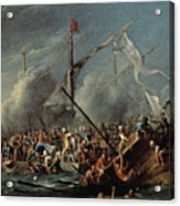 Naval Battle Between Spanish And Turks Acrylic Print