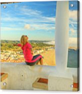 Nazare Viewpoint Woman Acrylic Print