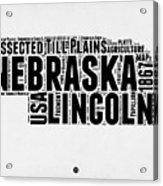 Nebraska Word Cloud 2 Acrylic Print