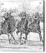 Neck And Neck - Horse Racing Art Print Acrylic Print
