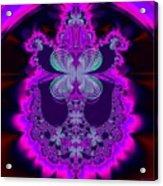 Neon Butterflies And Rainbow Fractal 137 Acrylic Print