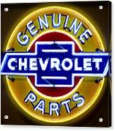Neon Genuine Chevrolet Parts Sign Acrylic Print