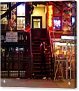 Neon Lights - New York City At Night Acrylic Print by Vivienne Gucwa