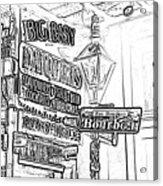 Neon Sign On Bourbon Street Corner French Quarter New Orleans Black And White Photocopy Digital Art Acrylic Print