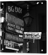 Neon Sign On Bourbon Street Corner French Quarter New Orleans Black And White Acrylic Print