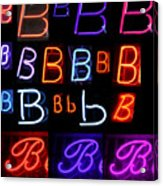 Neon Sign Series Featuring The Letter B  Acrylic Print