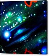 Neon Stars, Green Galaxy And Ufo Acrylic Print
