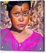 Nepalese Girl Acrylic Print by David  Horning