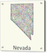 Nevada Line Art Map Acrylic Print