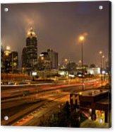 Never Sleeping Atlanta In Motion Midtown Light Trails Art Acrylic Print