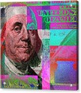 New 2009 Series Pop Art Colorized Us One Hundred Dollar Bill  No. 3 Acrylic Print