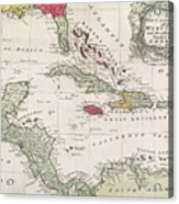 New And Accurate Map Of The West Indies Acrylic Print by American School