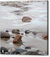 New England Beach With Rocks And Waves Acrylic Print