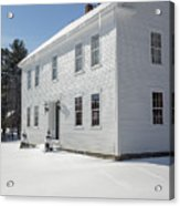 New England Colonial Home In Winter Acrylic Print
