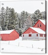 New England Farm With Red Barns In Winter Acrylic Print