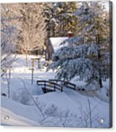 New England House And Forest In The Snow Acrylic Print