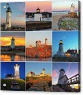 New England Lighthouse Collage Acrylic Print