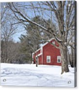New England Red House Winter Acrylic Print