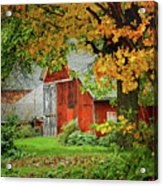 New England Rustic - New England Fall Landscape Red Barn Acrylic Print