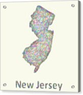 New Jersey Line Art Map Acrylic Print
