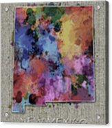New Mexico Map Color Splatter 5 Acrylic Print