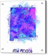 New Mexico Map Watercolor 2 Acrylic Print