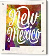 New Mexico Us State In Watercolor Text Cut Out Acrylic Print