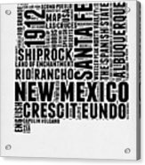 New Mexico Word Cloud Map 2 Acrylic Print
