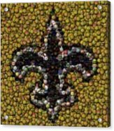 New Orleans Saints  Bottle Cap Mosaic Acrylic Print