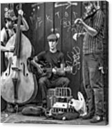 New Orleans Street Musicians Bw Acrylic Print