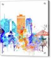 New Orleans Watercolor Skyline Acrylic Print