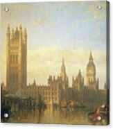 New Palace Of Westminster From The River Thames Acrylic Print by David Roberts