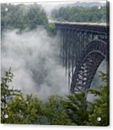 New River Gorge Bridge On A Foggy Day In West Virginia Acrylic Print by Brendan Reals