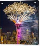New Year Fireworks - Seattle Acrylic Print