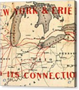 New York And Erie Railroad Map 1855 Acrylic Print