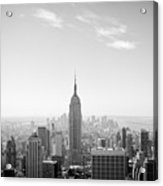 New York City - Empire State Building Panorama Black And White Acrylic Print