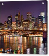 New York City Brooklyn Bridge And Lower Manhattan At Night Nyc Acrylic Print