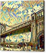New York City - Brooklyn Bridge Watercolor Acrylic Print