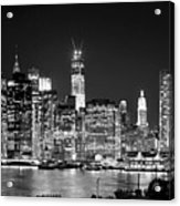 New York City Bw Tribute In Lights And Lower Manhattan At Night Black And White Nyc Acrylic Print