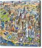 New York City Illustrated Map Acrylic Print